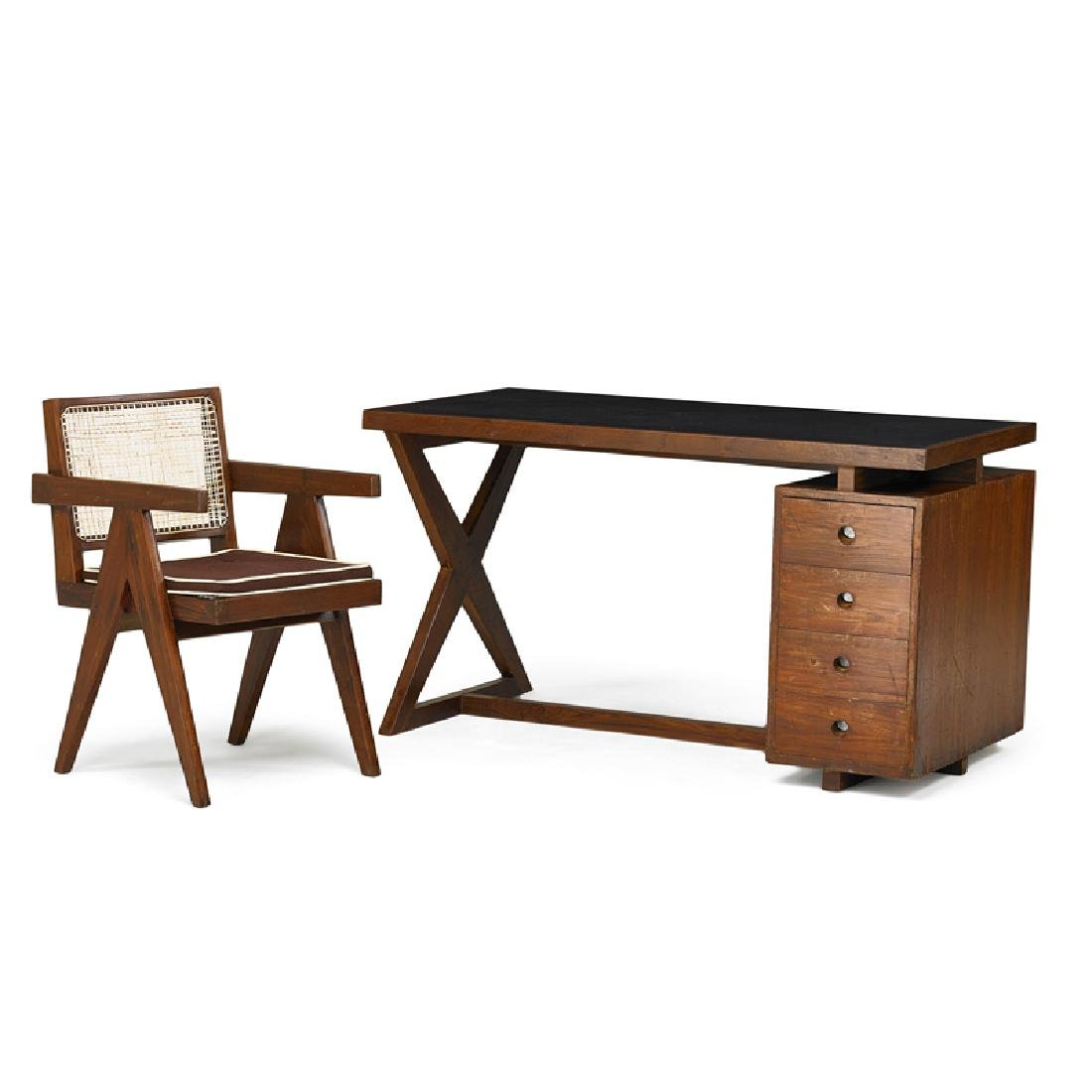 PIERRE JEANNERET Desk and armchair