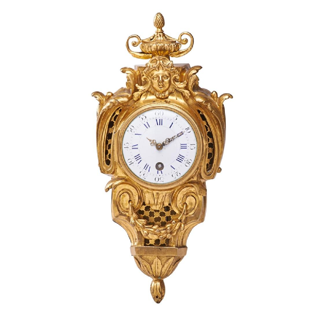 DIMINUTIVE LOUIS XV GILT BRONZE CARTEL CLOCK
