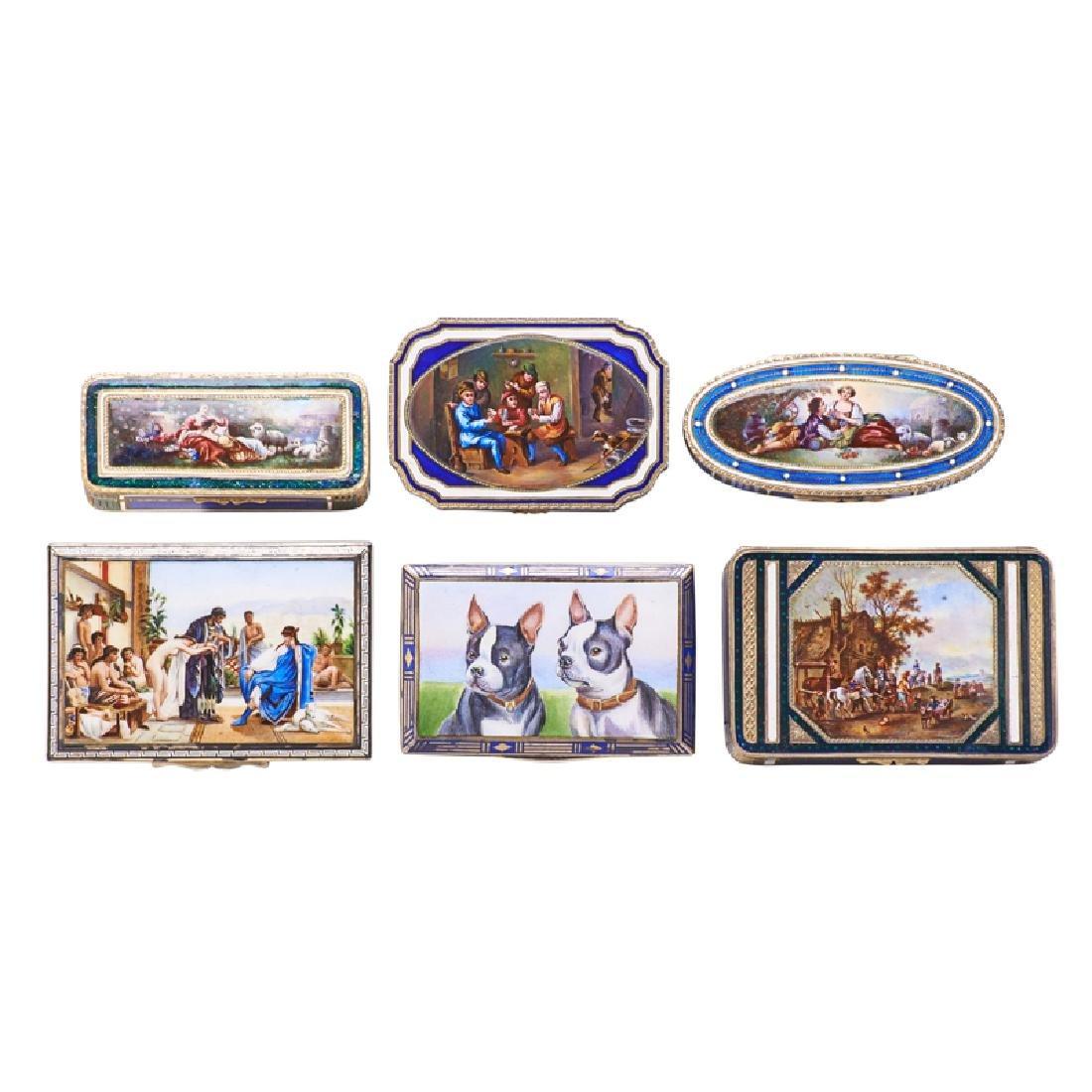 ENAMEL PARCEL-GILT SILVER BOXES