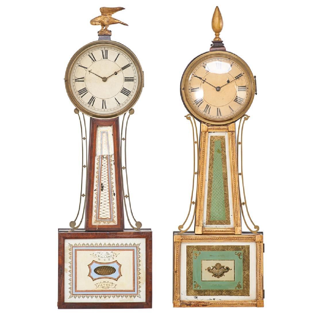 TWO SIMON WILLARD BANJO CLOCKS