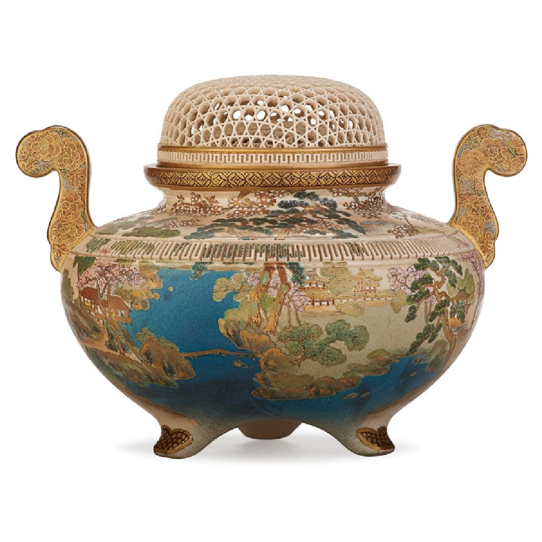 JAPANESE SATSUMA RETICULATED PORCELAIN CENSER