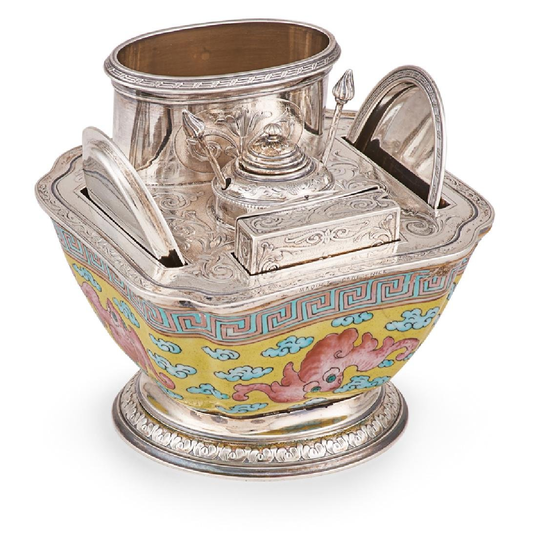 FRENCH SILVER MOUNTED PORCELAIN SMOKING SET