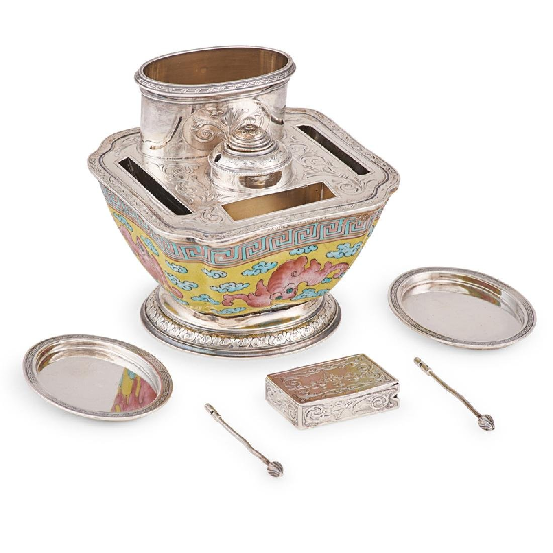 FRENCH SILVER MOUNTED PORCELAIN SMOKING SET - 2