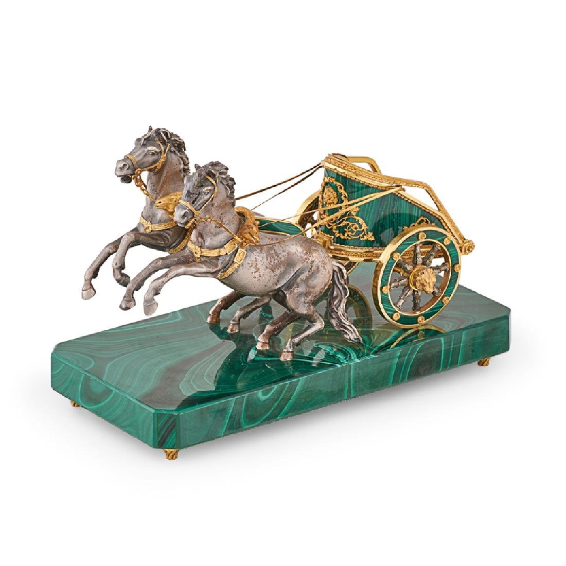 SILVER AND MALACHITE CHARIOT