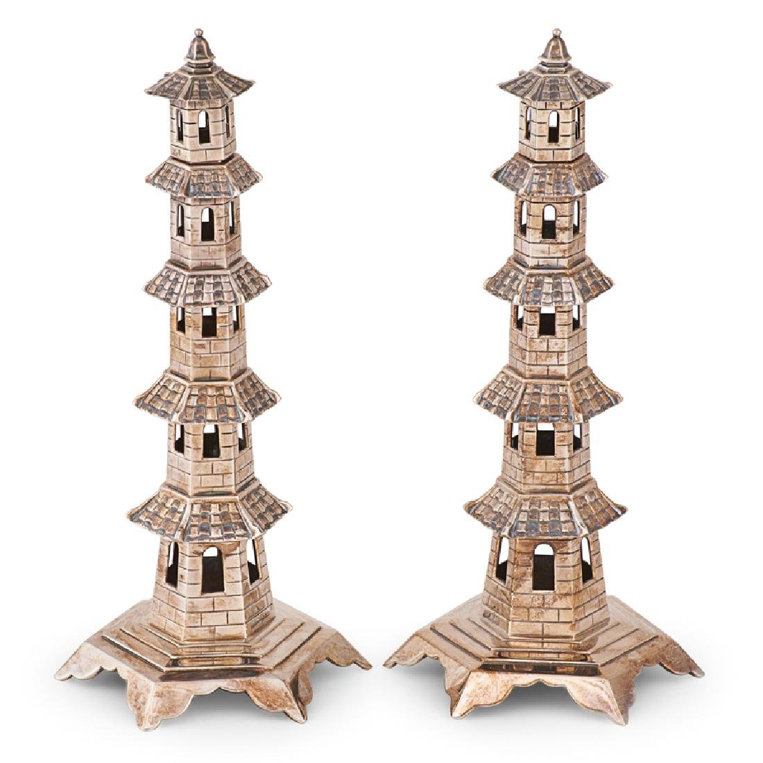 PAIR OF SILVER PLATED PAGODA CANDLESTICKS