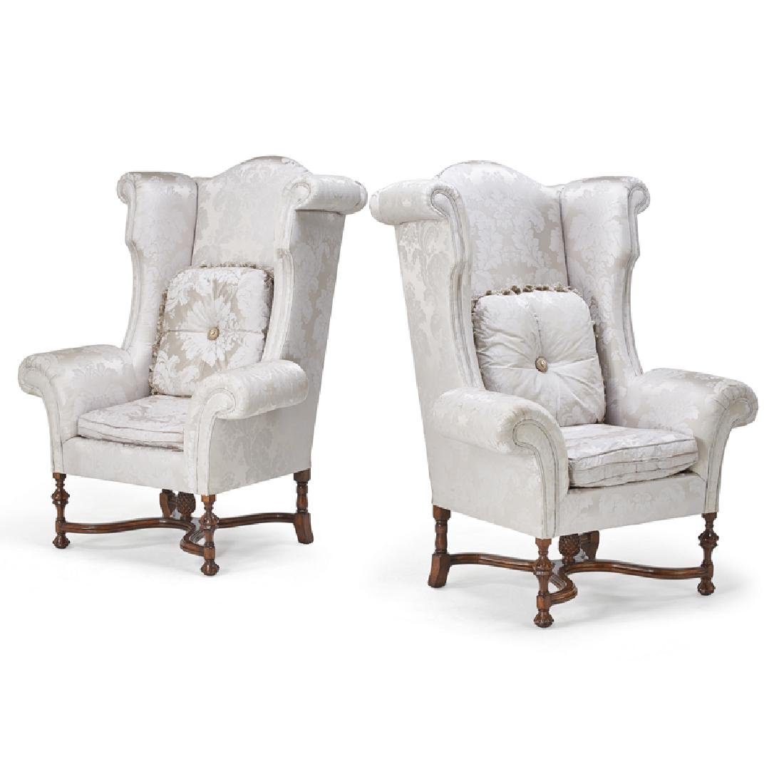 PAIR OF WILLIAM AND MARY STYLE WING CHAIRS