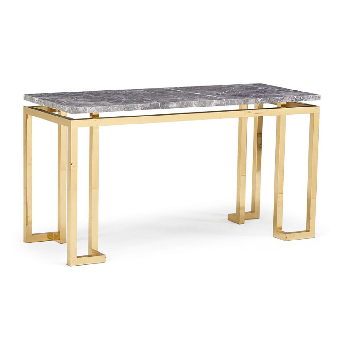 MODERN BRASS PLATED CHROME CONSOLE TABLE