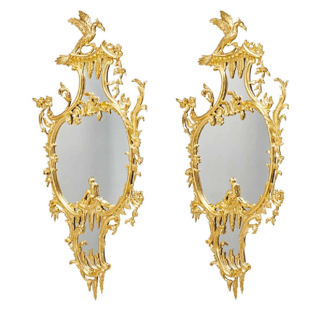 PAIR OF GEORGE II STYLE GILTWOOD MIRRORS