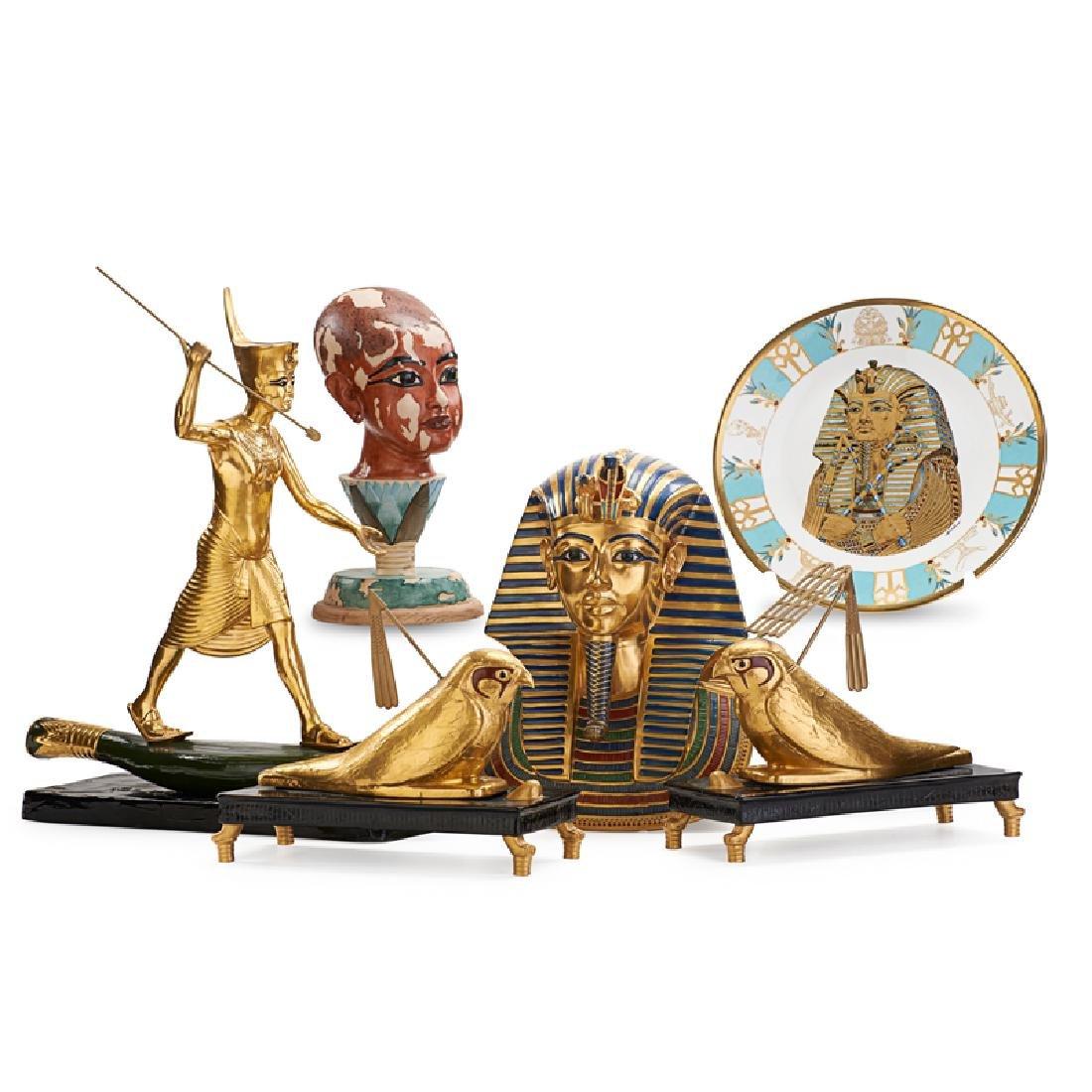 GROUP OF BOEHM EGYPGTIAN THEMED PORCELAIN
