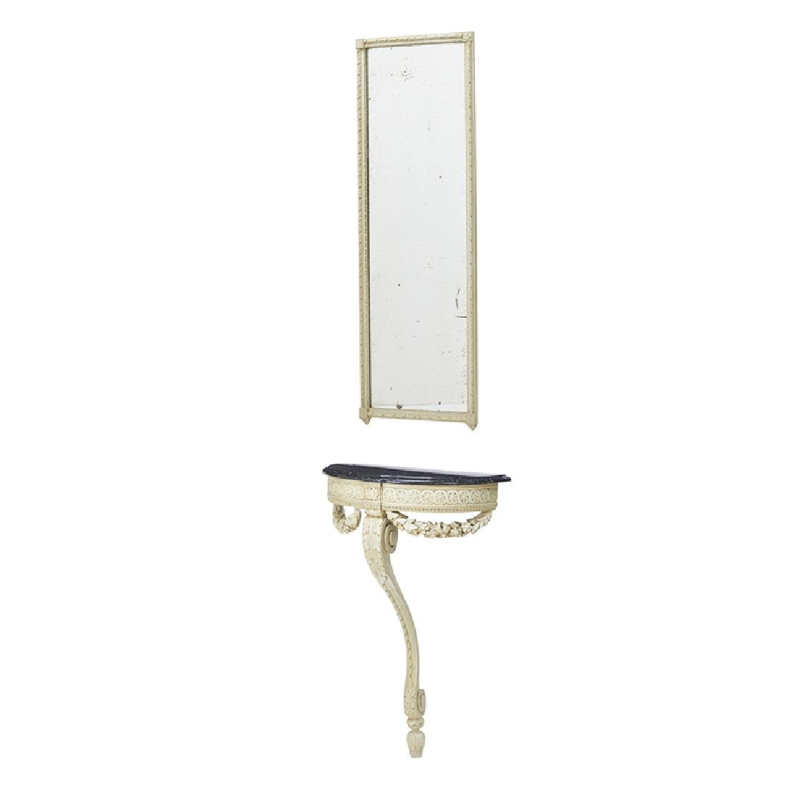 LOUIS XVI STYLE PAINTED CONSOLE AND MIRROR