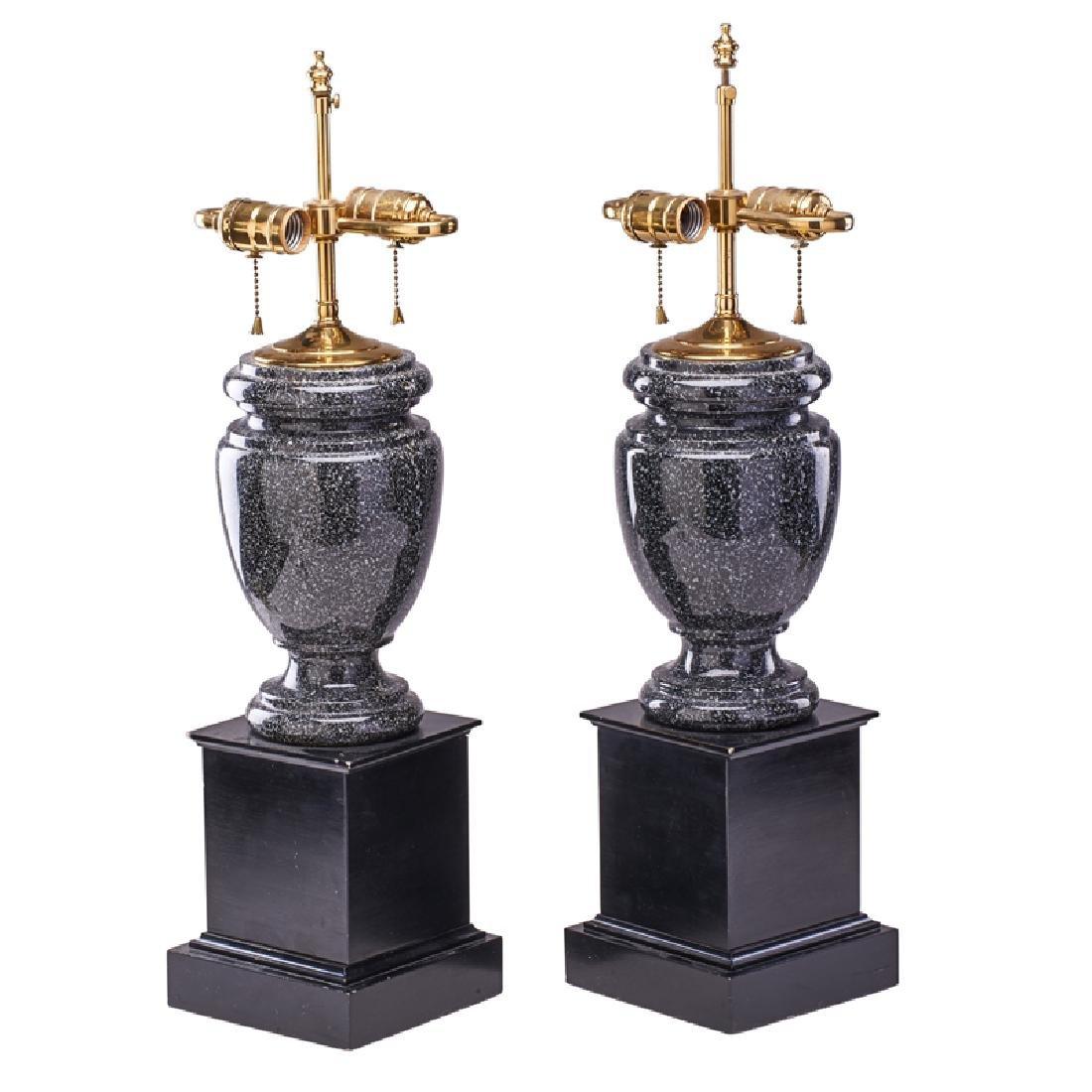 PAIR OF POLISHED GRANITE LAMPS