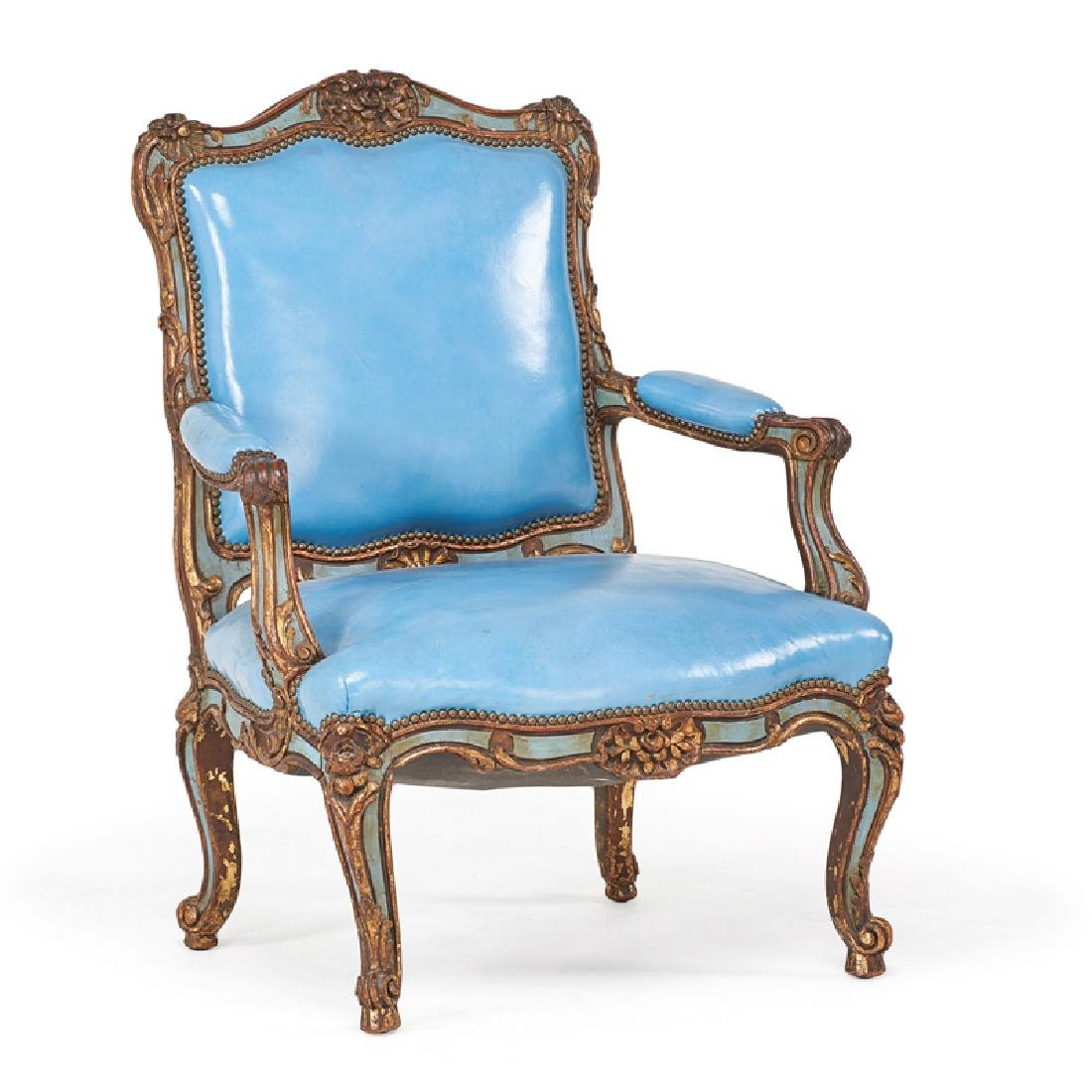 LOUIS XV STYLE PAINTED AND PARCEL GILT ARMCHAIR