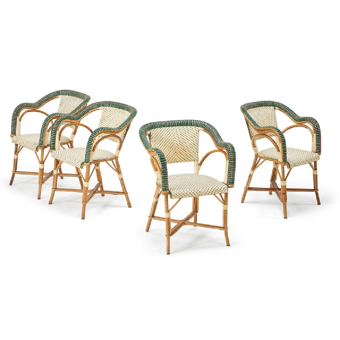 SET OF FOUR RATTAN ARMCHAIRS