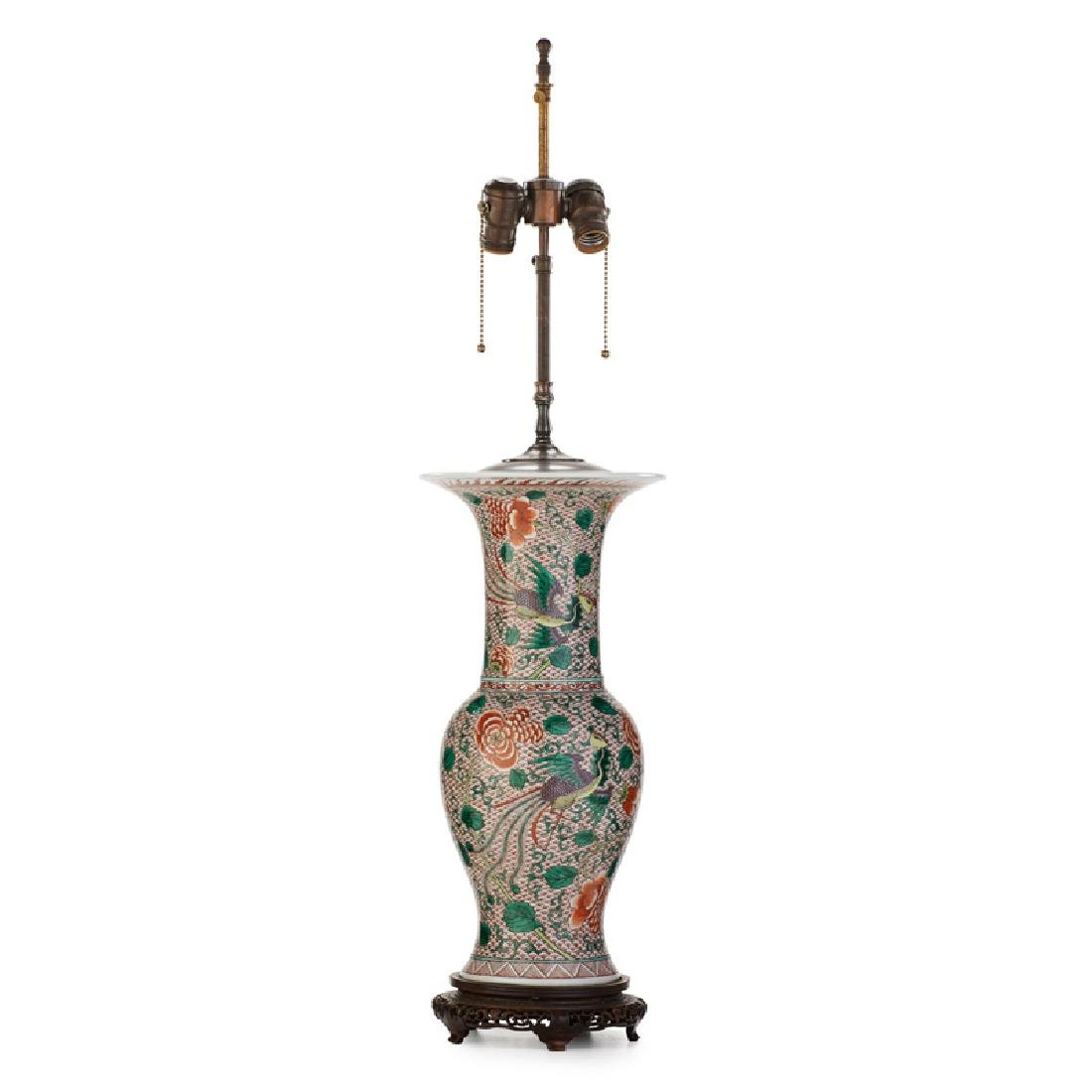 CHINOISERIE DECORATED VASIFORM LAMP