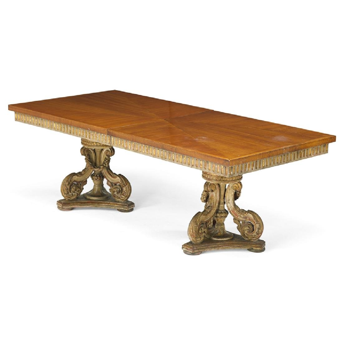 NEOCLASSICAL STYLE PARCEL GILT WALNUT DINING TABLE