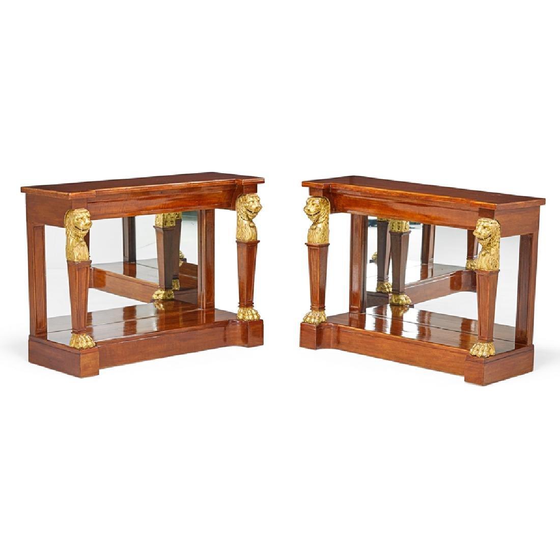 PAIR OF EMPIRE PARCEL GILT MAHOGANY CONSOLE TABLES
