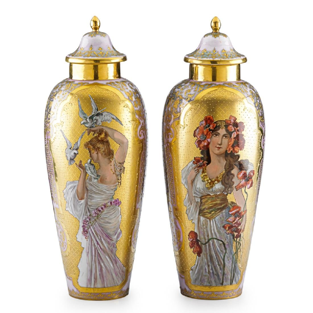 PAIR OF VIENNA STYLE PORCELAIN COVERED URNS