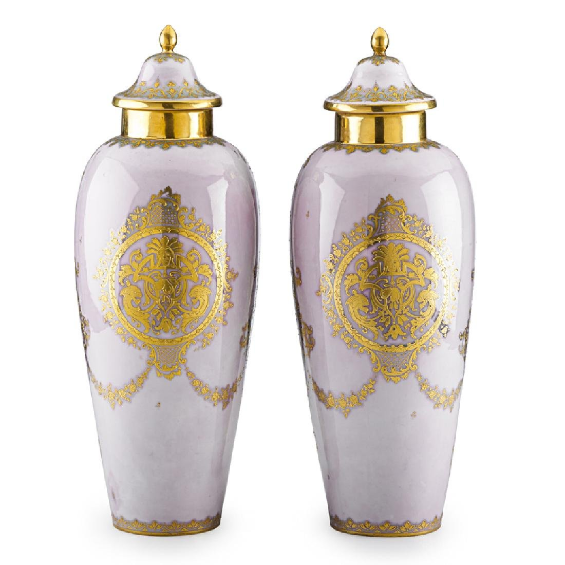 PAIR OF VIENNA STYLE PORCELAIN COVERED URNS - 2