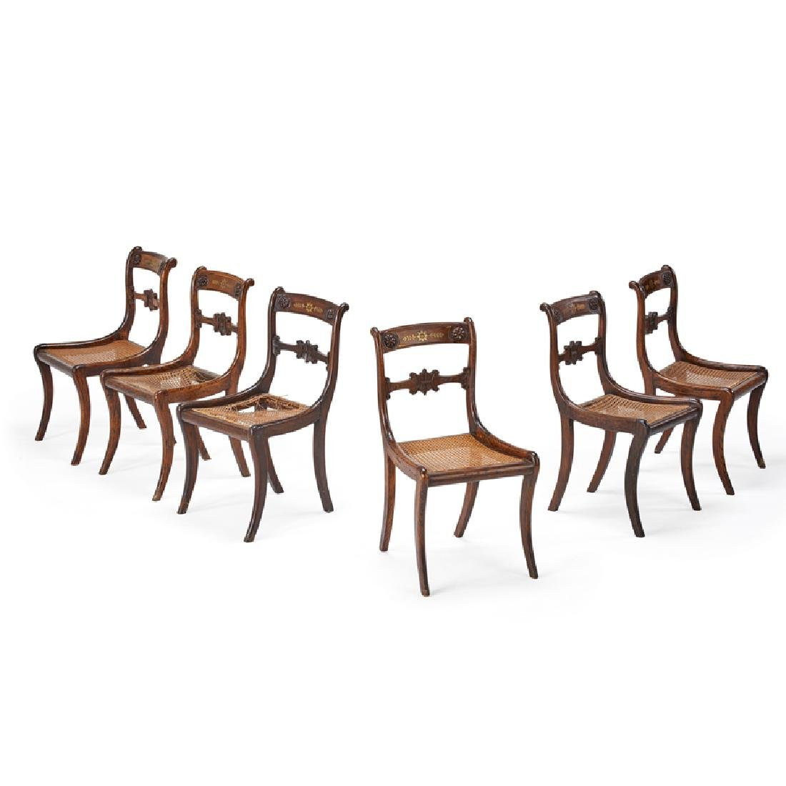 SET OF SIX REGENCY FAUX PAINTED DINING CHAIRS