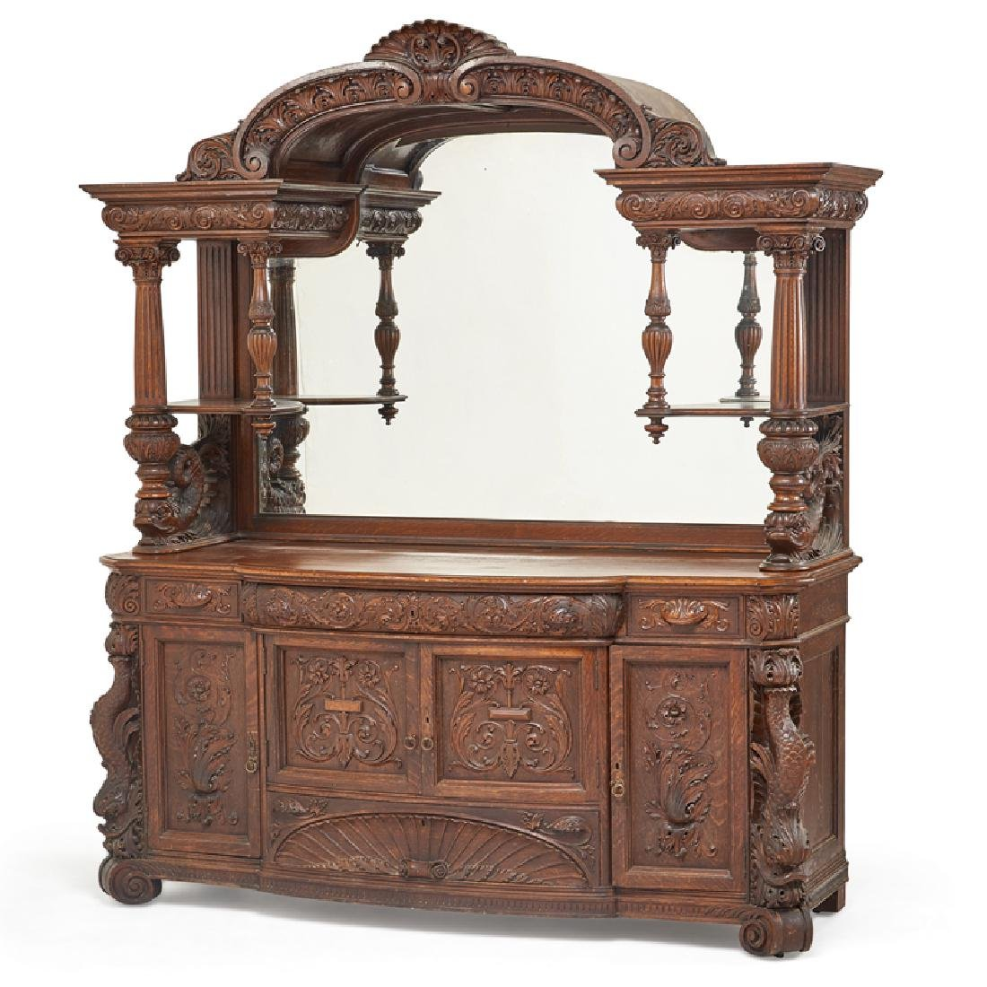 STYLE OF HORNER CARVED OAK BUFFET