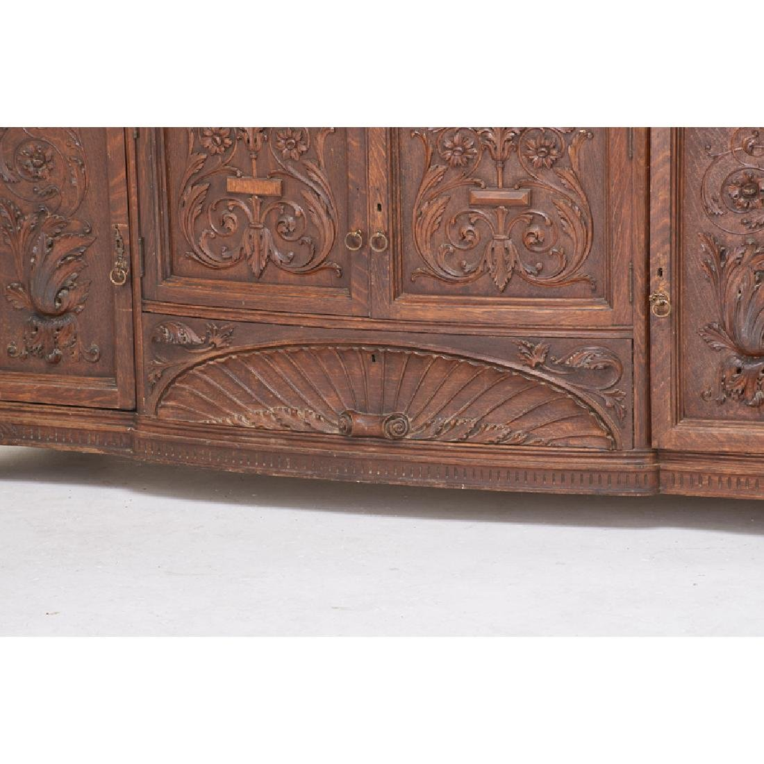 STYLE OF HORNER CARVED OAK BUFFET - 4