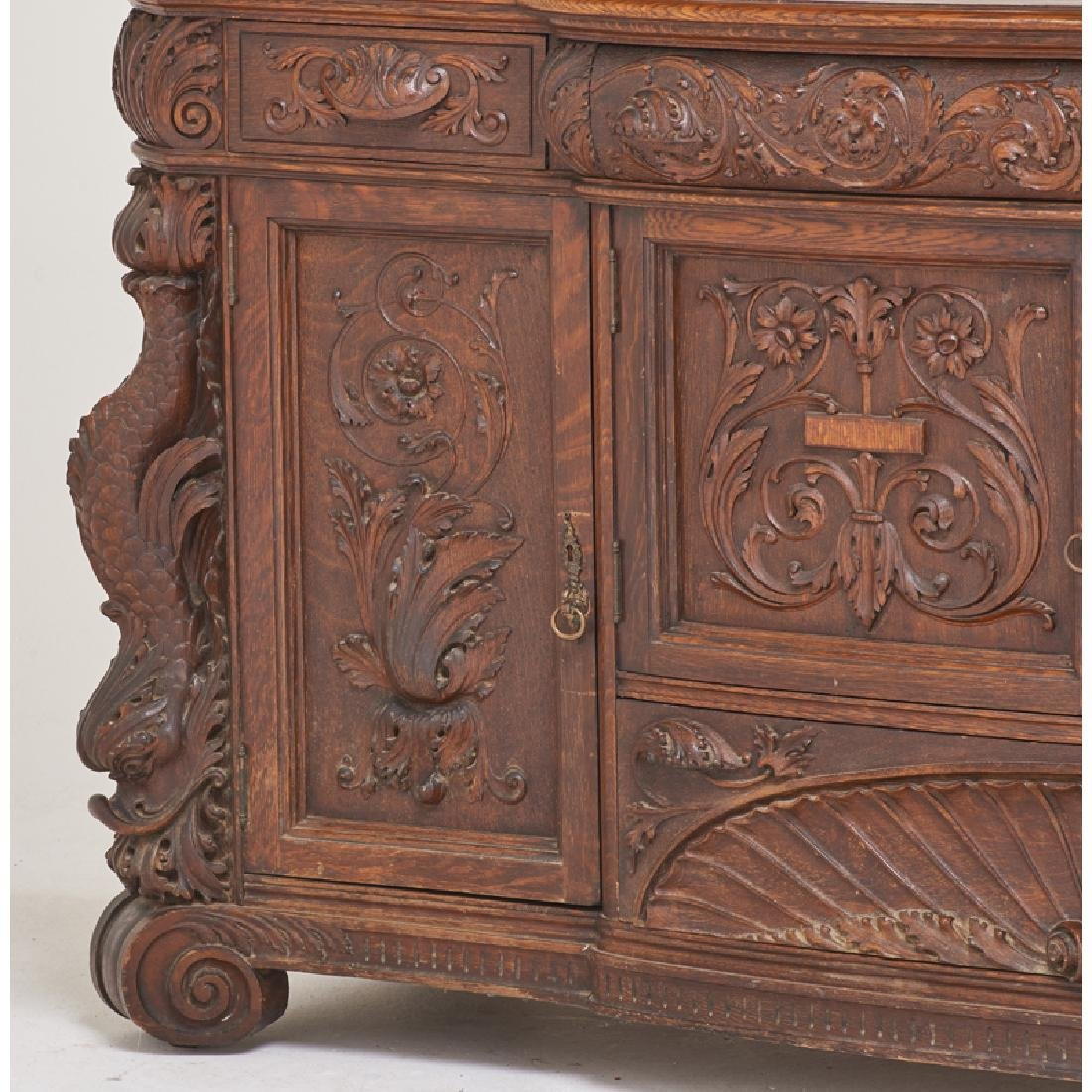 STYLE OF HORNER CARVED OAK BUFFET - 5