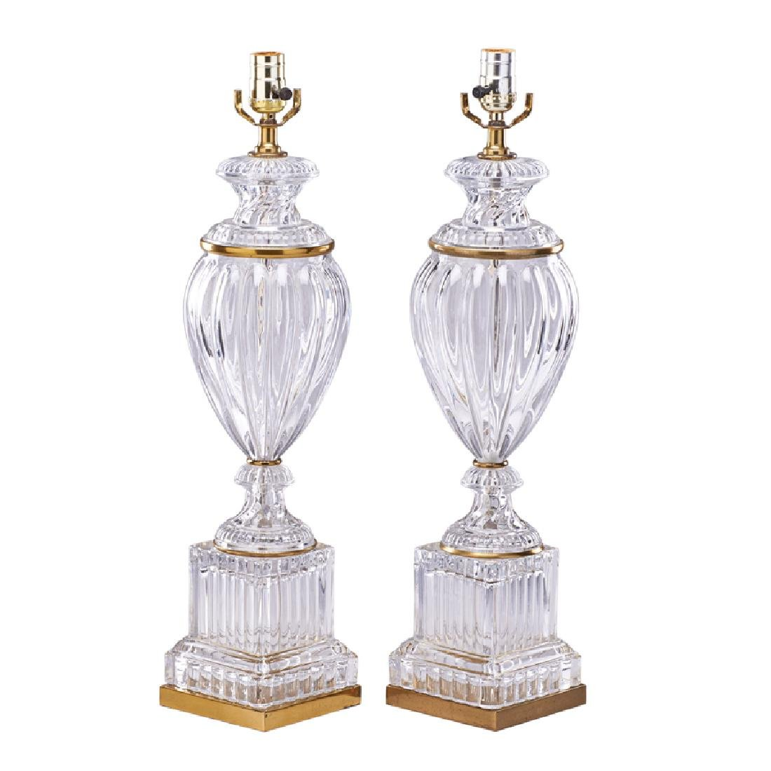 PAIR OF BACCARAT STYLE GLASS TABLE LAMPS