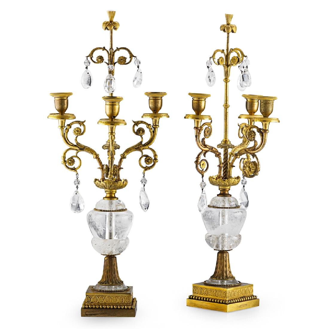 PAIR OF ROCK CRYSTAL AND GILT BRONZE CANDELABRA