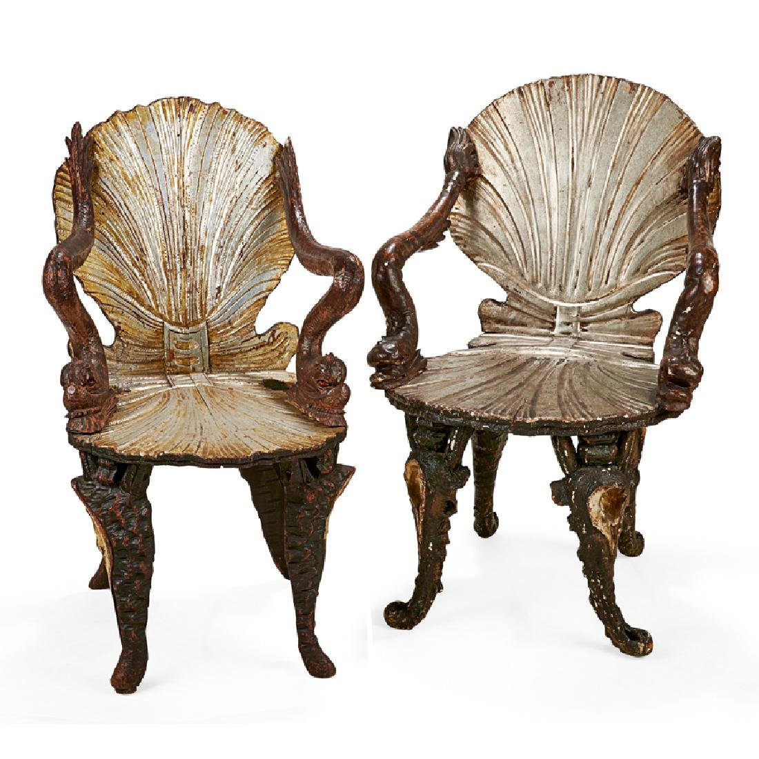 PAIR OF VENETIAN PAINTED & SILVERED GROTTO CHAIRS
