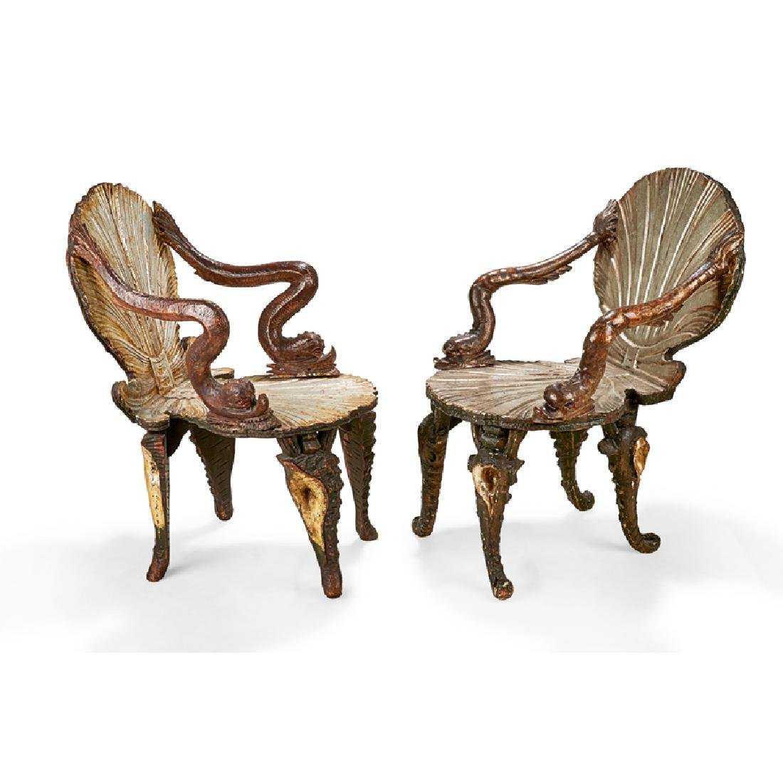 PAIR OF VENETIAN PAINTED & SILVERED GROTTO CHAIRS - 2