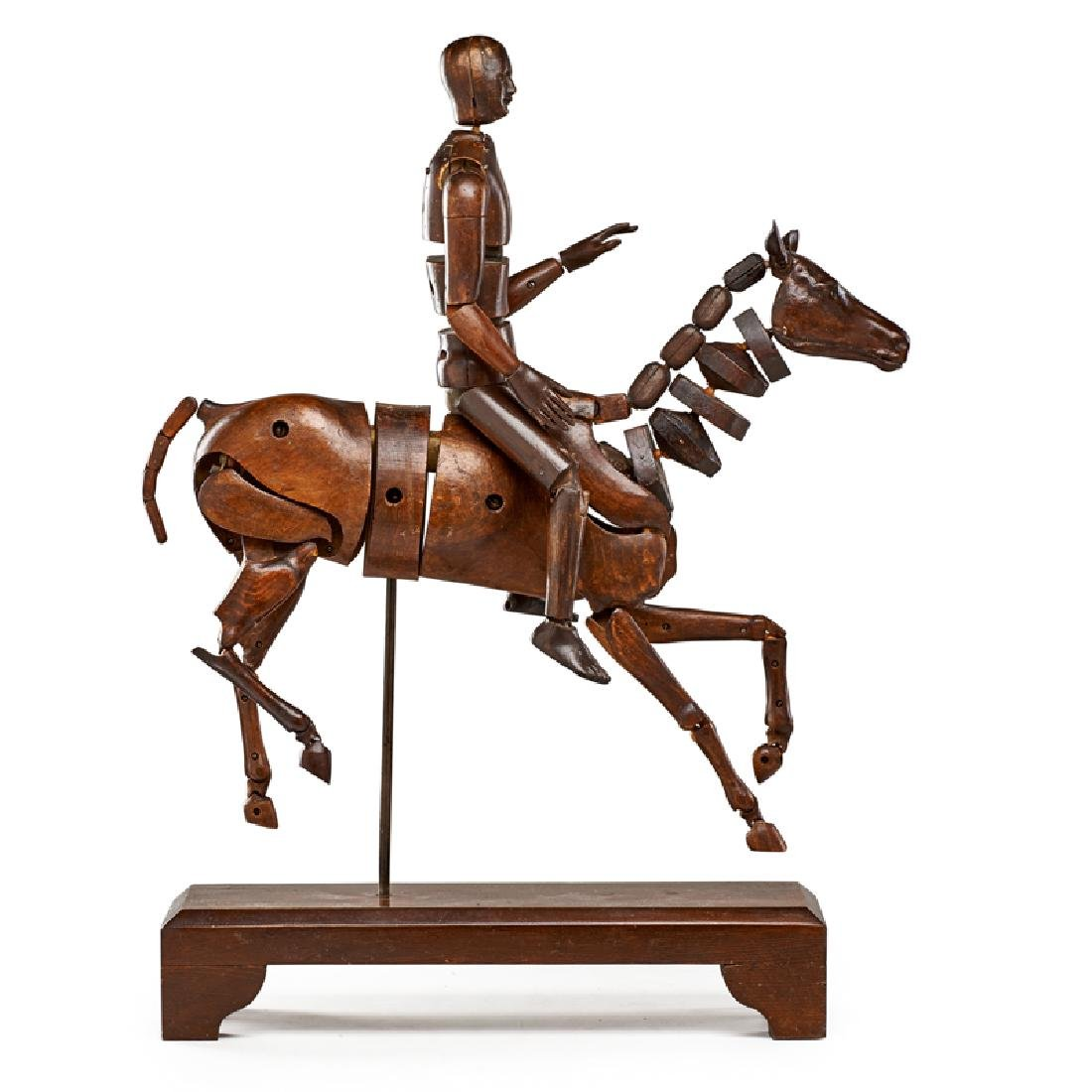 FRENCH ARTICULATED HORSE MANNEQUIN WITH RIDER