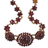 VICTORIAN BOHEMIAN GARNET PEARL  GOLDFILLED NECKLACE