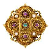 VICTORIAN ETRUSCAN REVIVAL GEMSET YELLOW GOLD BROOCH