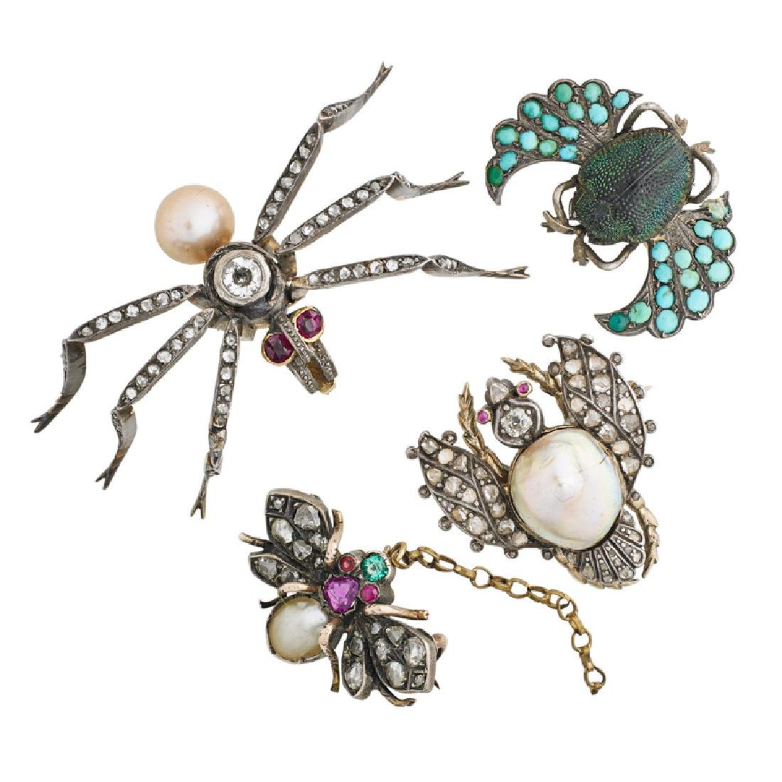 FOUR ANTIQUE DIAMOND OR GEM-SET INSECT BROOCHES