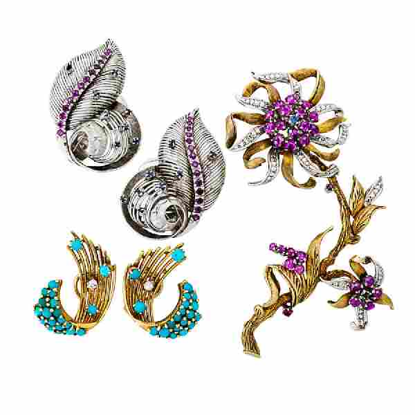 COLLECTION OF RETRO GEM SET GOLD JEWELRY