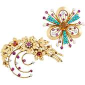 TWO RETRO GEM SET YELLOW GOLD BROOCHES