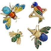 GEM SET YELLOW GOLD INSECT OR BIRD JEWELRY