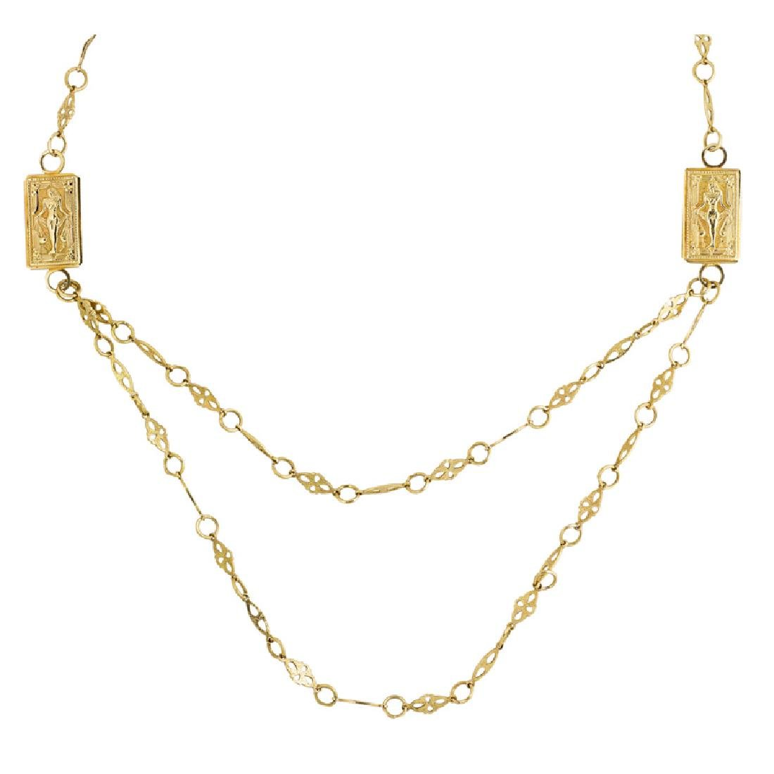 EGYPTIAN REVIVAL YELLOW GOLD NECKLACE