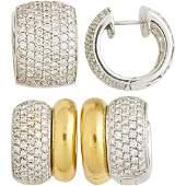 TWO PAIRS DIAMOND, GOLD HUGGIE EARRINGS, INCL LEO PIZZO