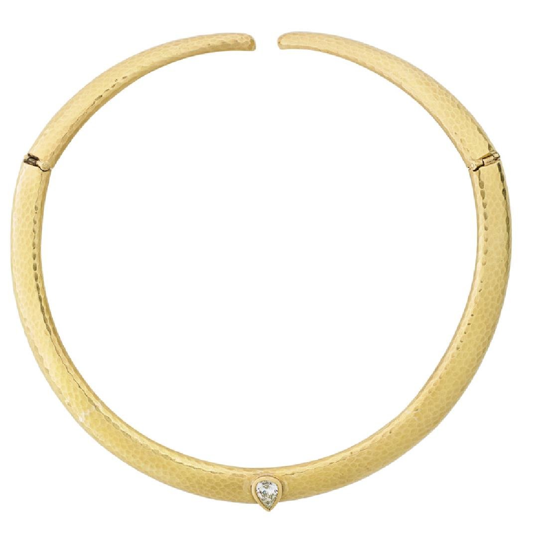 ANDREW CLUNN DIAMOND & YELLOW GOLD COLLAR NECKLACE