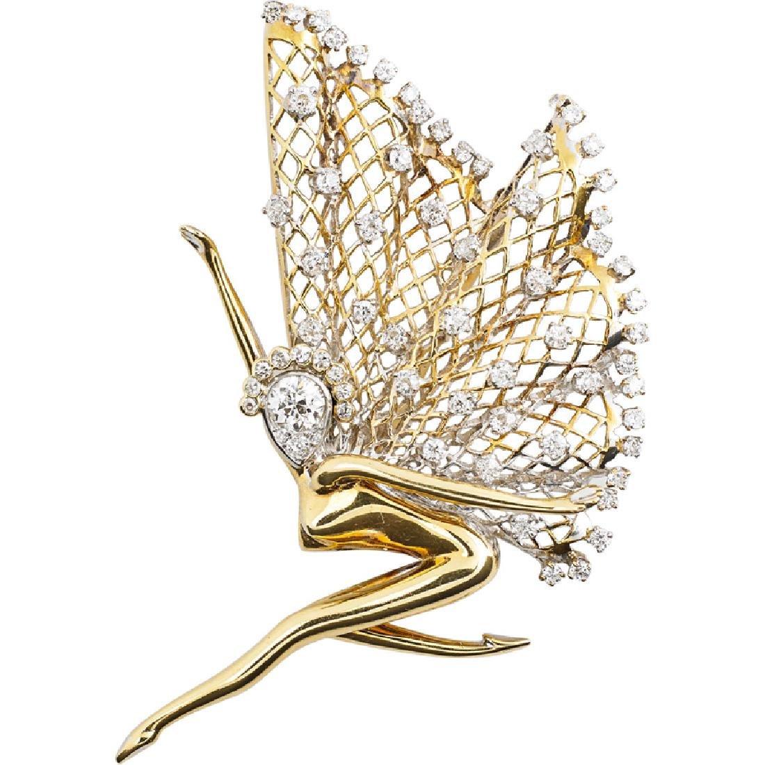 DIAMOND & YELLOW GOLD FAIRY FUR CLIP