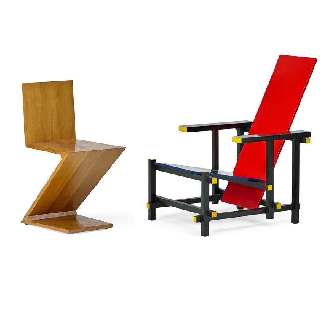 GERRIT RIETVELD; CASSINA Two chairs