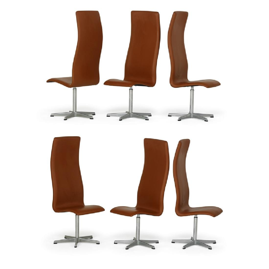 A.JACOBSEN; FRITZ HANSEN Six Oxford chairs