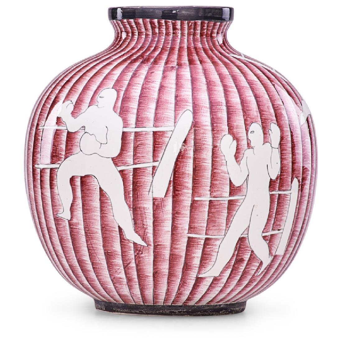 GIO PONTI; RICHARD GINORI Vase with boxing scenes
