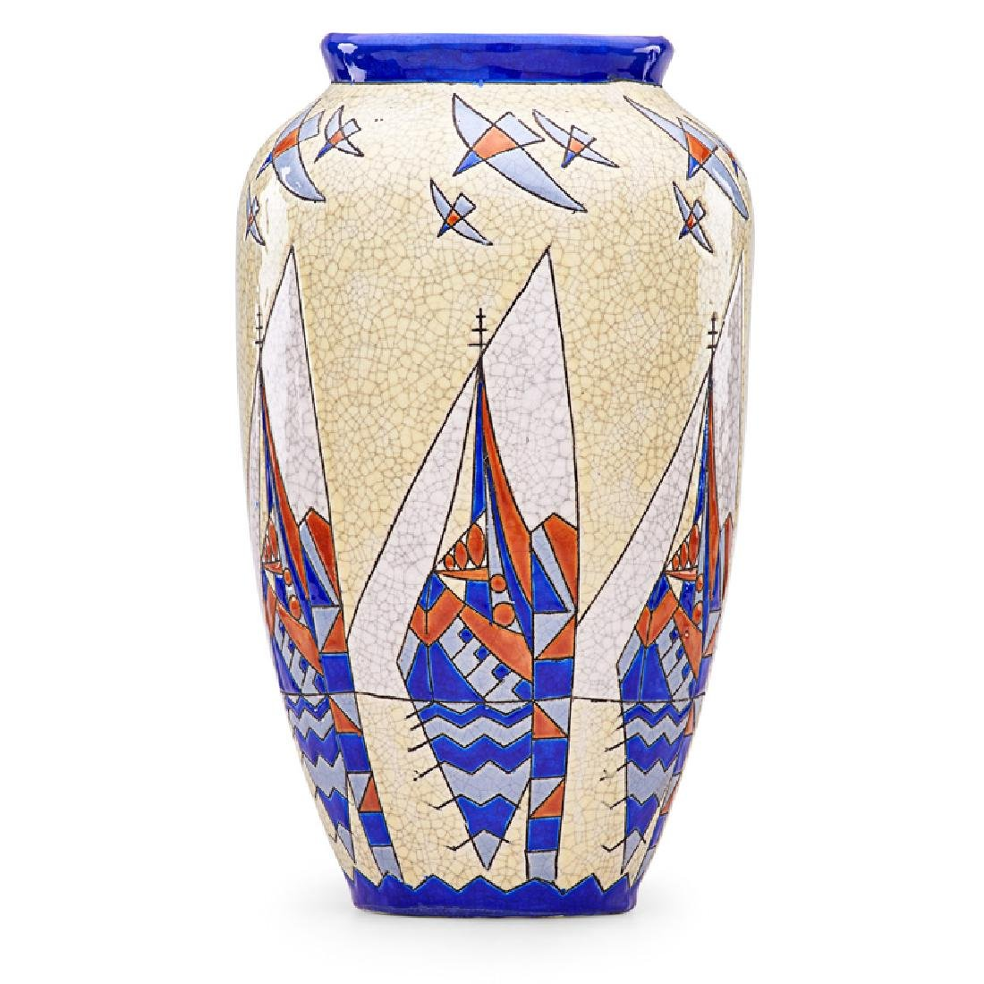 BOCH FRERES Large Keramis vase with boats