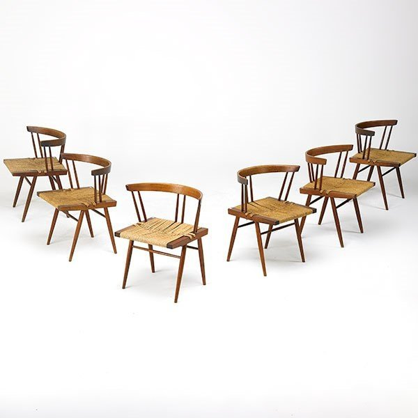 GEORGE NAKASHIMA Set of six Grass-Seated chairs