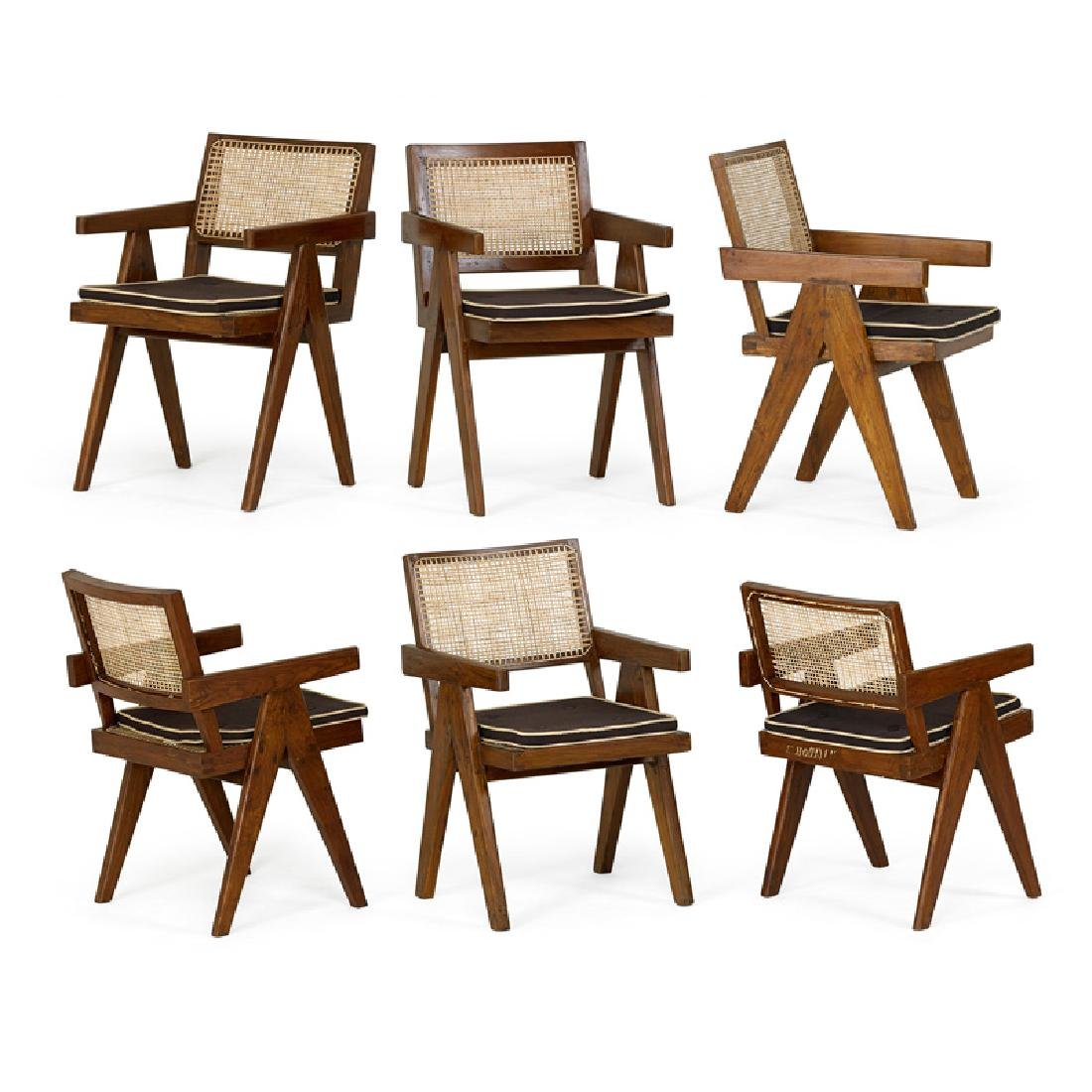 PIERRE JEANNERET Six V-leg chairs