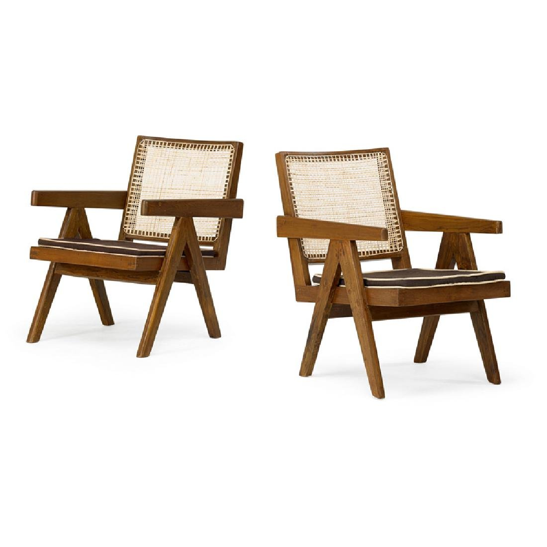 PIERRE JEANNERET Pair of V-leg armchairs