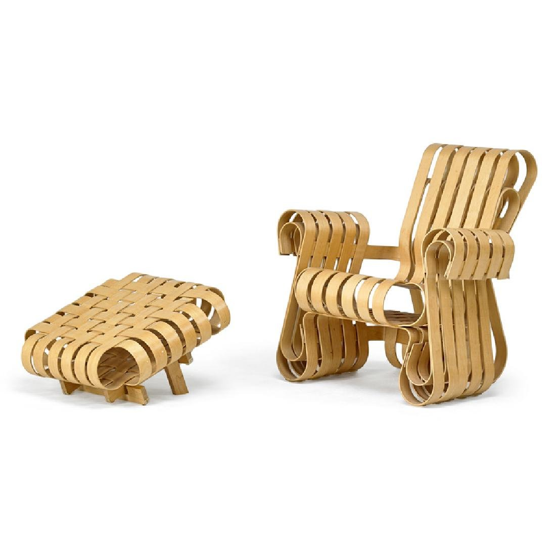 FRANK GEHRY Power Play chair and ottoman