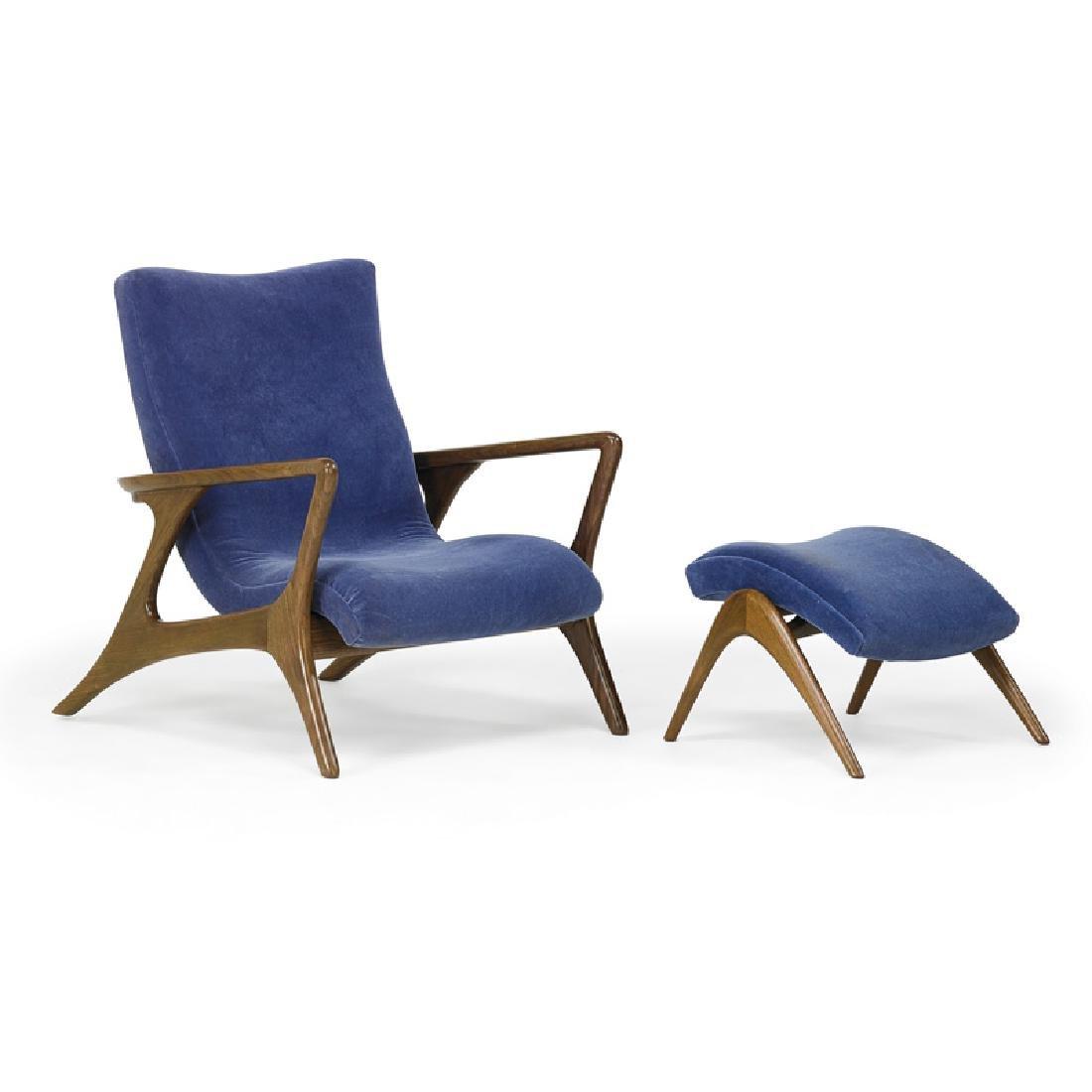 VLADIMIR KAGAN Contour lounge chair and ottoman
